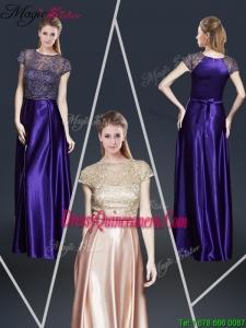 2016 Fall Empire Bateau Dama Dresses with Appliques and Belt
