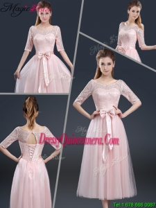 2016 Summer Elegant Tea Length Dama Dresses with Lace and Bowknot