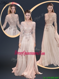 Cheap Brush Train Champagne Dama Dresses with Beading