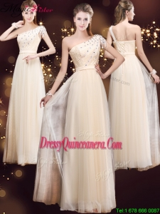 Spring Elegant One Shoulder Dama Dresses with Appliques and Beading