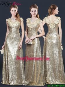 Spring Perfect V Neck Sequins Dama Dresses in Champagne