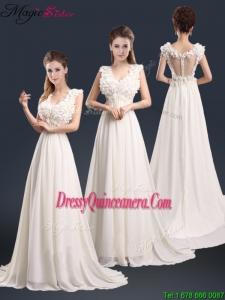Winter Pretty V Neck Empire Dama Dresses with Appliques