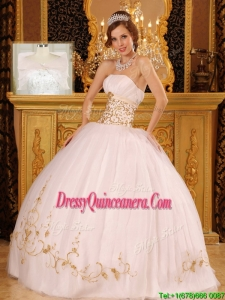 Fashionable Strapless Appliques Quinceanera Dresses in White