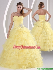 Inexpensive Appliques and Ruffled Layers Quinceanera Dresses