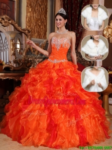 Popular 2016 Sweetheart Beading Quinceanera Dresses in Orange