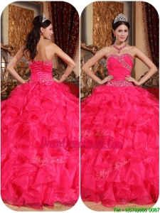 Popular Coral Red Ball Gown Quinceanera Dresses with Beading