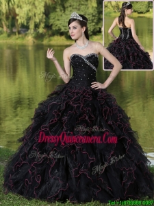 Fashionable Ruffles Layered and Beading Quinceanera Dresses in Black