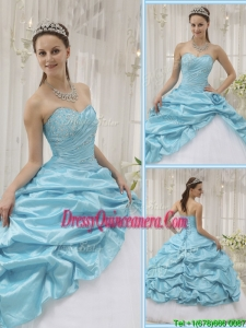 Perfect Beading Sweetheart Quinceanera Dresses in Aqua Blue