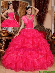 Classic Beading Coral Red Quinceanera Dresses with Sweetheart