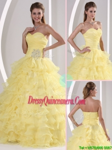 Designer Sweetheart Quinceaners Dresses with Appliques and Ruffled Layers