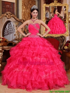 Designer Coral Red Ball Gown Floor Length Quinceanera Gowns