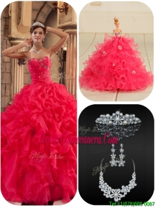Exclusive Coral Red Quinceanera Dresses with Beading and Ruffles