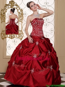 Fabulous Embroidery Wine Red Strapless Quinceanera Dresses