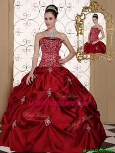Luxurious Pick Ups Strapless Sweet 16 Dresses in Wine Red
