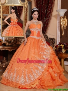 Luxurious Orange Red Ball Gown Floor Length Sweet 16 Dresses