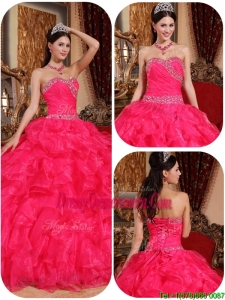 New Style Ball Gown Beading Quinceanera Dresses in Coral Red
