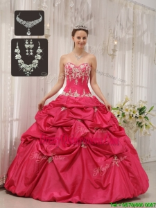 2016 Perfect Sweetheart Sweet 15 Dresses with Appliques and Pick Ups