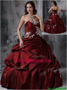 Perfect Strapless Burgundy Sweet 15 Dresses with Appliques