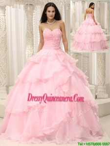2016 Beautiful Baby Pink Quinceanera Dresses with Beading and Ruffles
