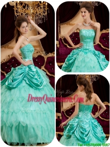 Cheap Ball Gown Strapless Ruffles Quinceanera Dresses for 2016