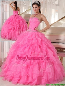 Pretty Hot Pink Ball Gown Strapless Quinceanera Dresses