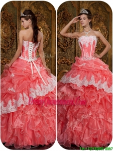 Romantic Appliques Waltermelon Strapless Quinceanera Dresses