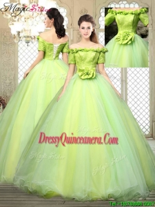 2016 Pretty Off the Shoulder Quinceanera Dresses with Hand Made Flowers