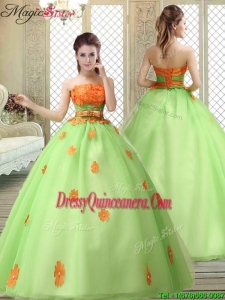 Latest Strapless Quinceanera Gowns with Appliques and Belt for 2016