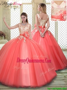 Spring Straps Quinceanera Dresses with Appliques and Hand Made Flowers