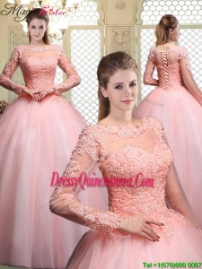 Pretty Bateau Long Sleeves Beading and Appliques Quinceanera Dresses for 2016