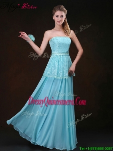 2016 Affordable Strapless Floor Length Dama Dresses in Aqua Blue