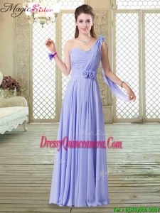 Beautiful One Shoulder Floor Length Dama Dresses for Spring