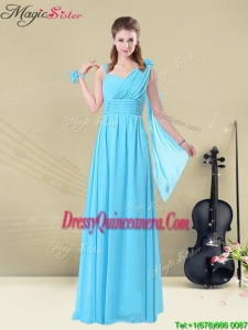 Simple Floor-length Straps Ruching Dama Dresses