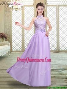 2016 Beautiful High Neck Lace Lavender Dama Dresses