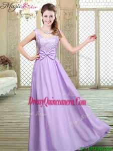Pretty Scoop Bowknot Lavender Dama Dresses for 2016 Fall