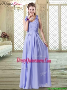 2016 Romantic Empire Straps Dama Dresses in Lavender