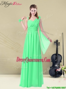 Elegant Straps Floor Length Dama Dresses with Ruching and Belt for Summer