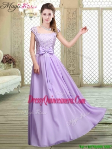 Fashionable Square Cap Sleeves Lavender Dama Dresses with Belt