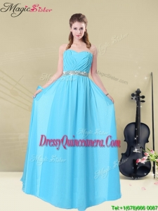 Summer Popular Ruching Dama Dresses in Aqua Blue