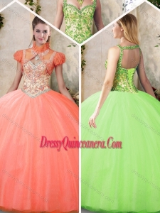 2016 Cheap Straps Sweet 16 Dresses with Beading and Appliques