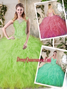 2016 Modern Ball Gown Quinceanera Dresses with Appliques and Ruffles
