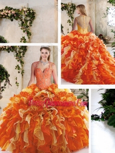Classical Straps Quinceanera Dresses with Beading and Ruffles
