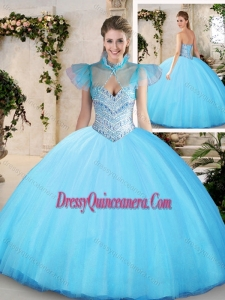 Modest Sweetheart Aqua Blue Quinceanera Dresses with Beading
