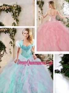Perfect Multi Color Sweet 16 Dresses with Beading and Ruffles for 2016
