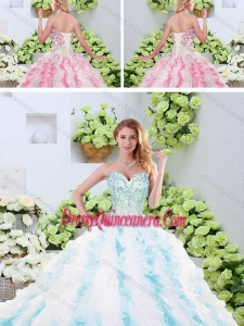 2016 Popular Beading and Ruffles Quinceanera Dresses with Brush Train