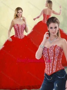 Hot Sale Red Detachable Sweet 16 Dresses with Ruffles and Beading