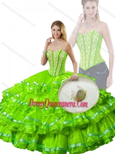 Cute Spring Green Detachable Sweet 16 Dresses with Beading and Ruffled Layers