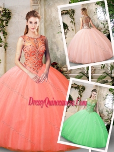 Inexpensive Bateau and Beading Quinceanera Dresses