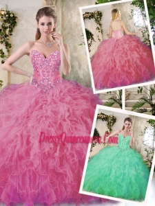 Popular Appliques Quinceanera Dresses in Watermelon for 2016