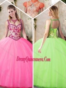 Elegant Straps Beading Quinceanera Gowns with Appliques